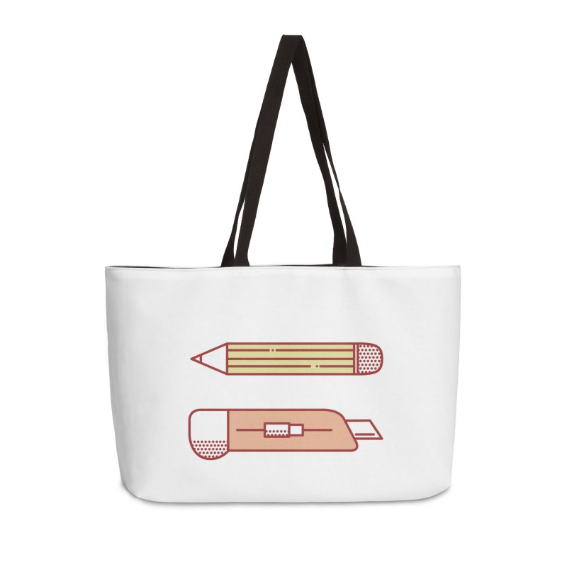 Mark & Crop Accessories Weekender Bag Bag by whitechaircreative's Artist Shop