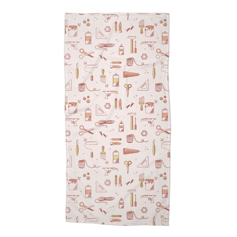 Get Creative - Pink Accessories Beach Towel by whitechaircreative's Artist Shop