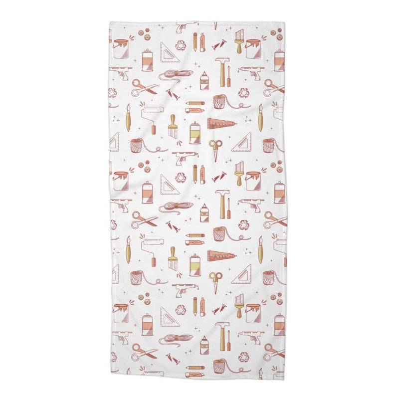 Get Creative - White Accessories Beach Towel by whitechaircreative's Artist Shop