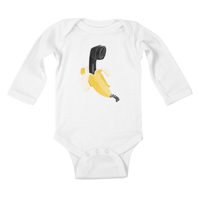 Banana Phone Kids Baby Longsleeve Bodysuit by whiterabbitsays's Artist Shop