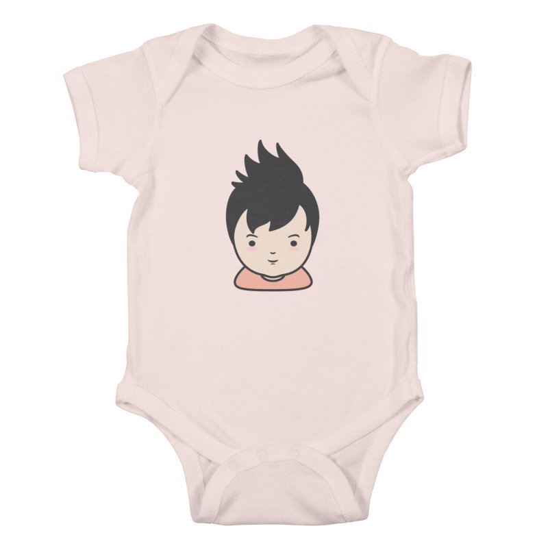 Baobao in Kids Baby Bodysuit Soft Pink by Whitewater's Artist Shop