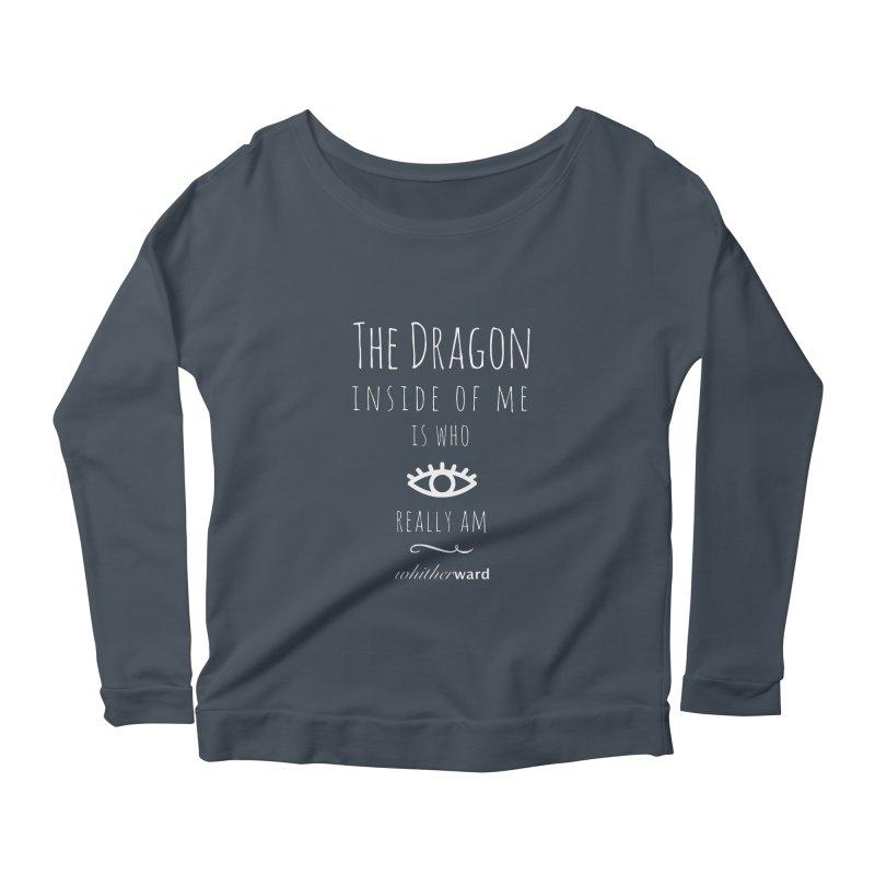 Dragon Lyrics - White Women's Scoop Neck Longsleeve T-Shirt by whitherward's Artist Shop