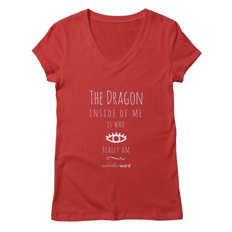 Dragon Lyrics - White Women's Regular V-Neck by whitherward's Artist Shop