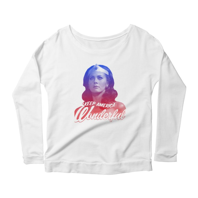 Keep America Wonderful Women's Longsleeve Scoopneck  by whoisrico's Artist Shop