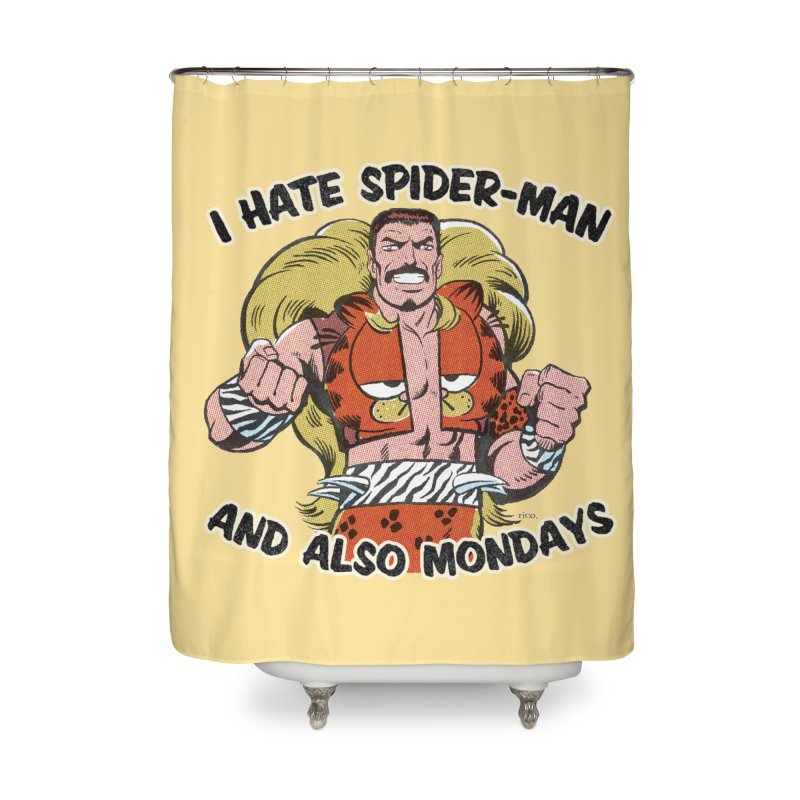 I Hate Spider-Man and also Mondays Home Shower Curtain by whoisrico's Artist Shop
