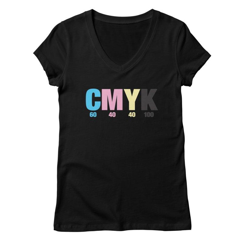 Rich Black (CMYK formula) Women's V-Neck by whoisrico's Artist Shop