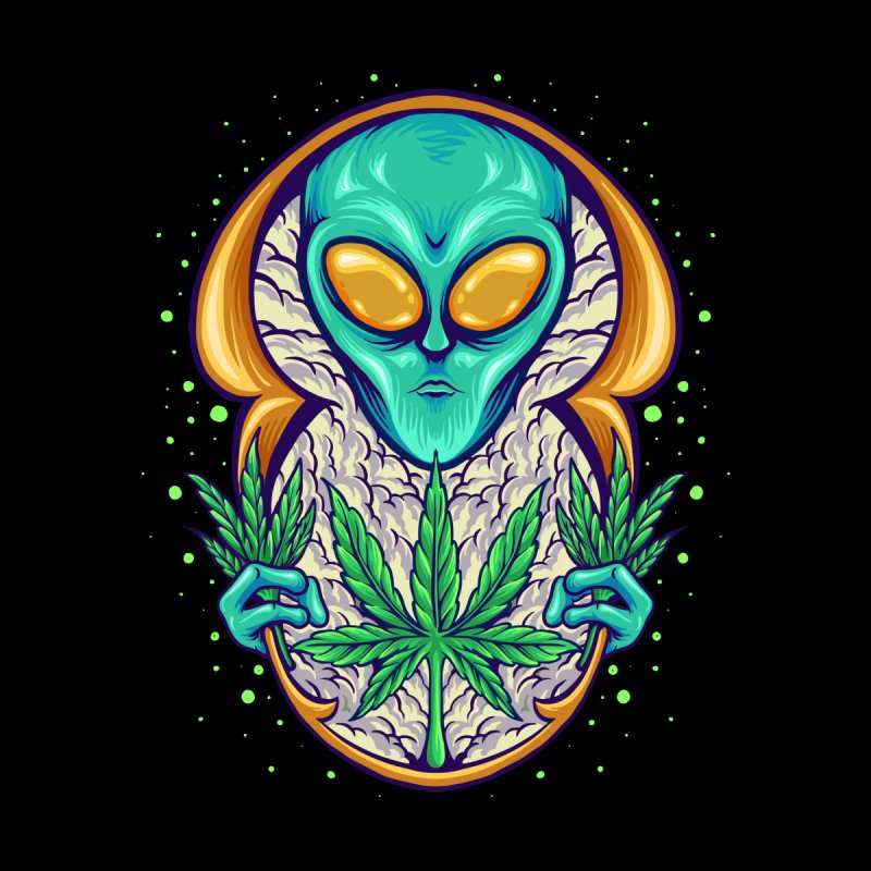 Alien Cannabis Men's T-Shirt by Wicked Clobber