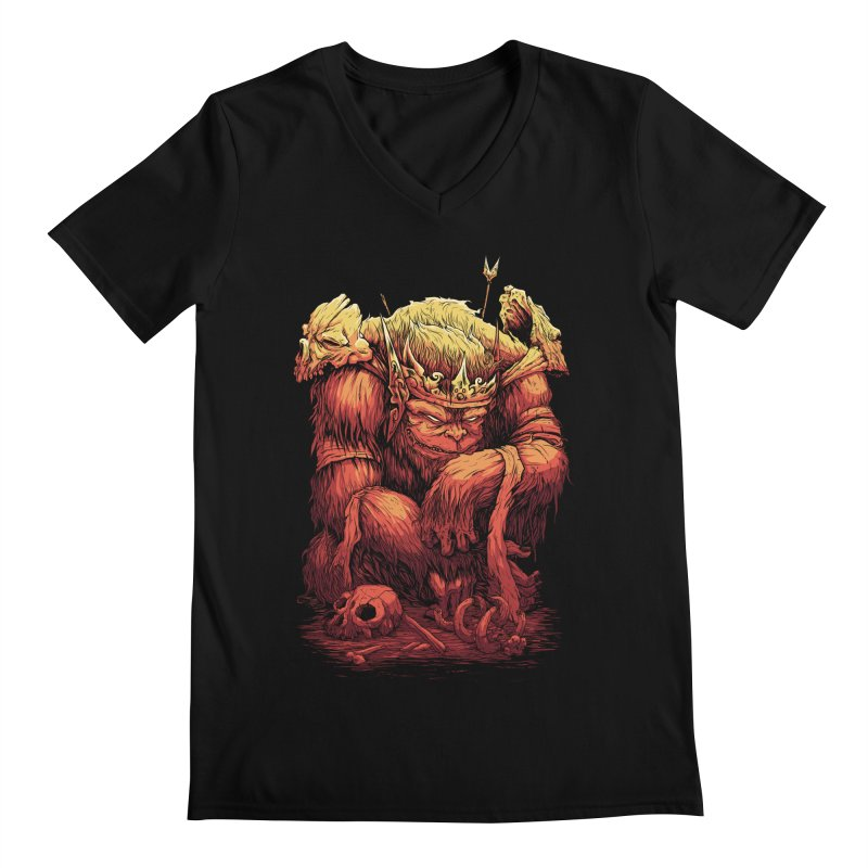 Monster King Men's V-Neck by Wicked Clobber