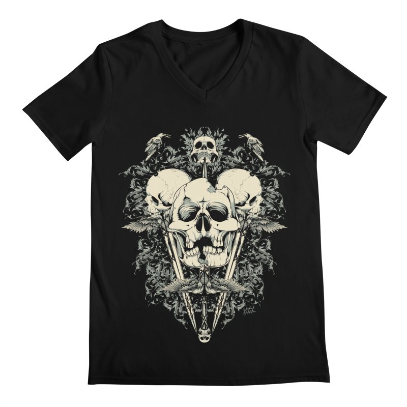 Skulls and Swords Men's V-Neck by Wicked Oddities