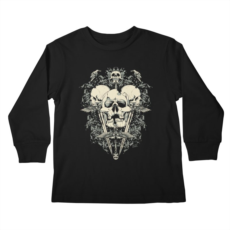 Skulls and Swords Kids Longsleeve T-Shirt by Wicked Oddities