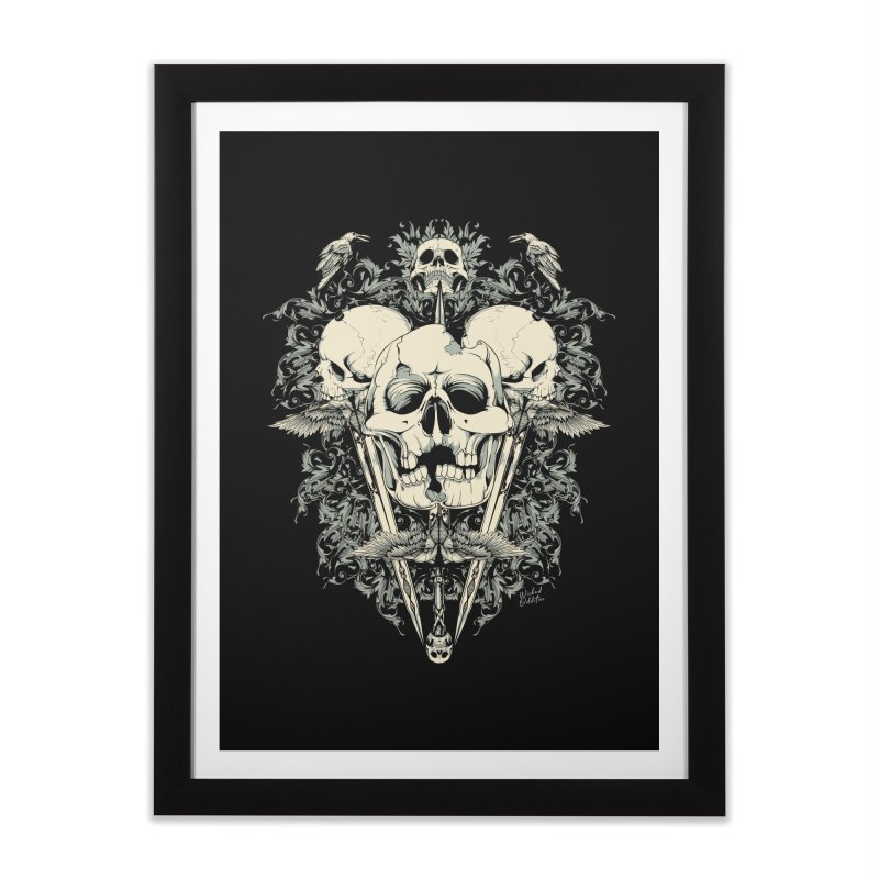Skulls and Swords Home Framed Fine Art Print by Wicked Oddities
