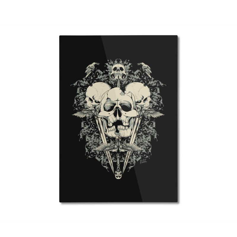 Skulls and Swords Home Mounted Aluminum Print by Wicked Oddities