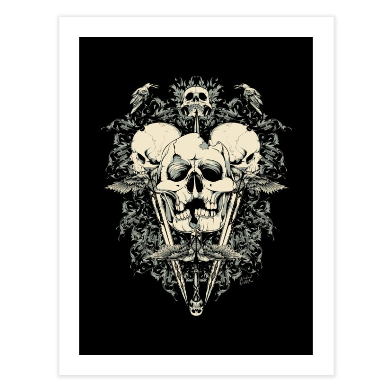 Skulls and Swords Home Fine Art Print by Wicked Oddities