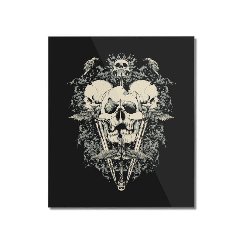 Skulls and Swords Home Mounted Acrylic Print by Wicked Oddities