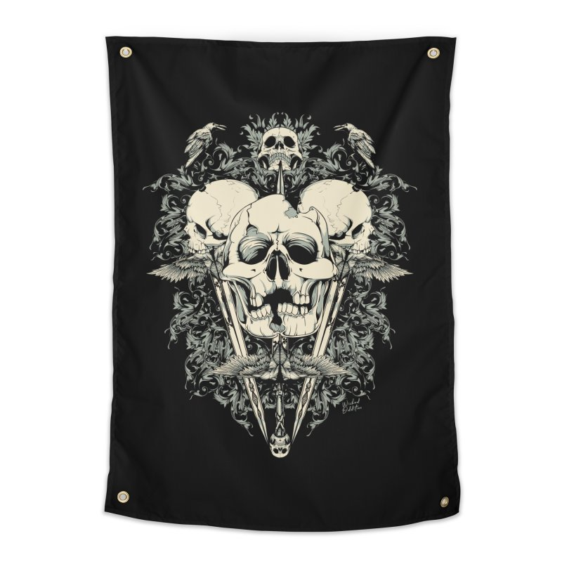 Skulls and Swords Home Tapestry by Wicked Oddities