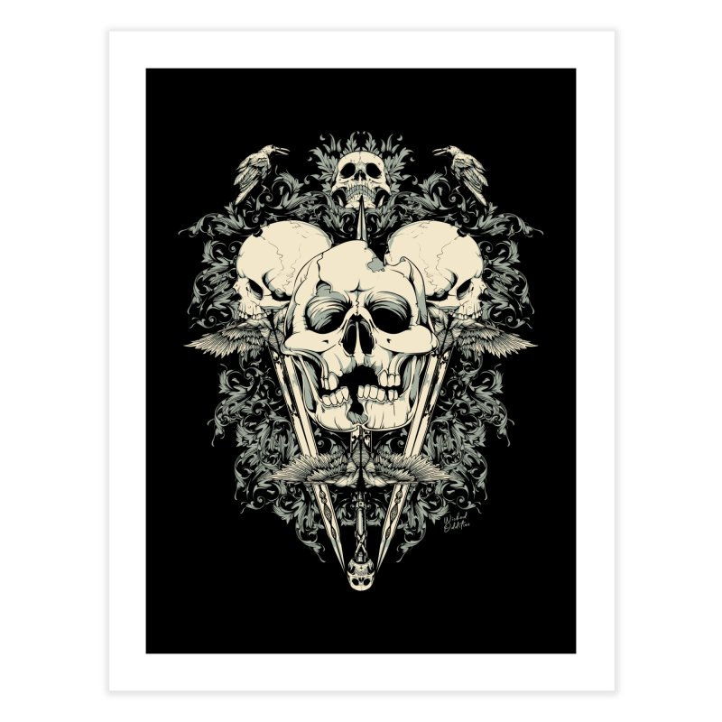Skulls and Swords Home Fine Art Print by Wicked Oddities
