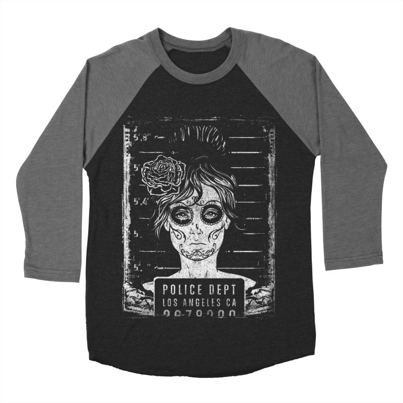 Muerte Mugshot Men's Baseball Triblend Longsleeve T-Shirt by Wicked Oddities