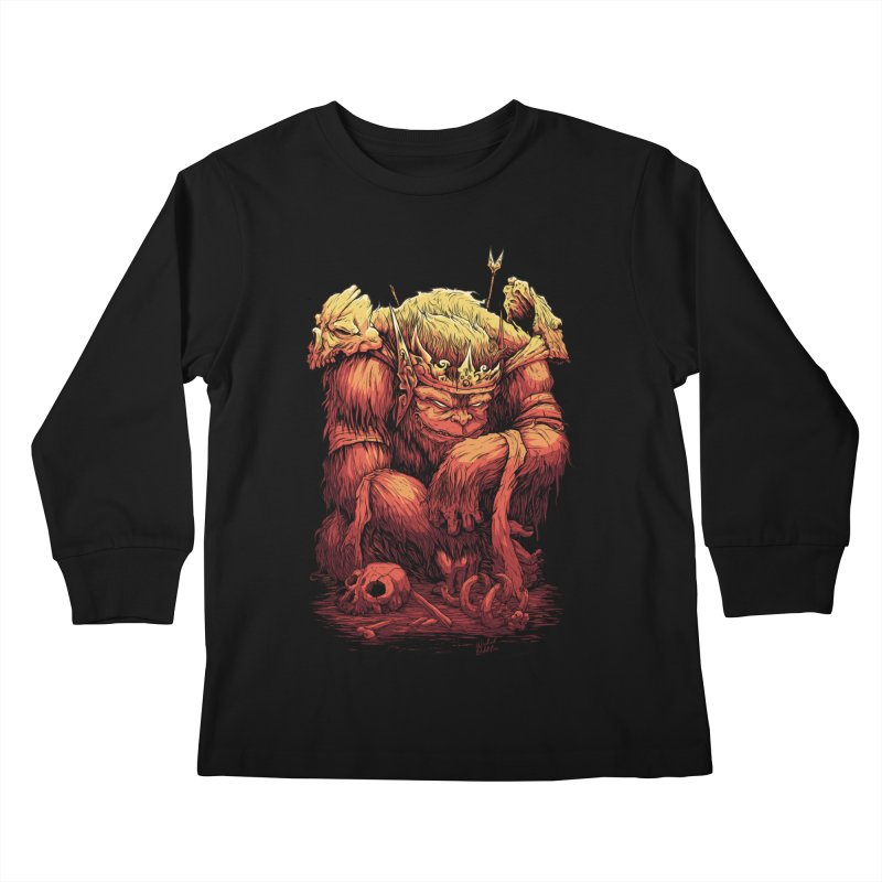 Monster King Kids Longsleeve T-Shirt by Wicked Oddities