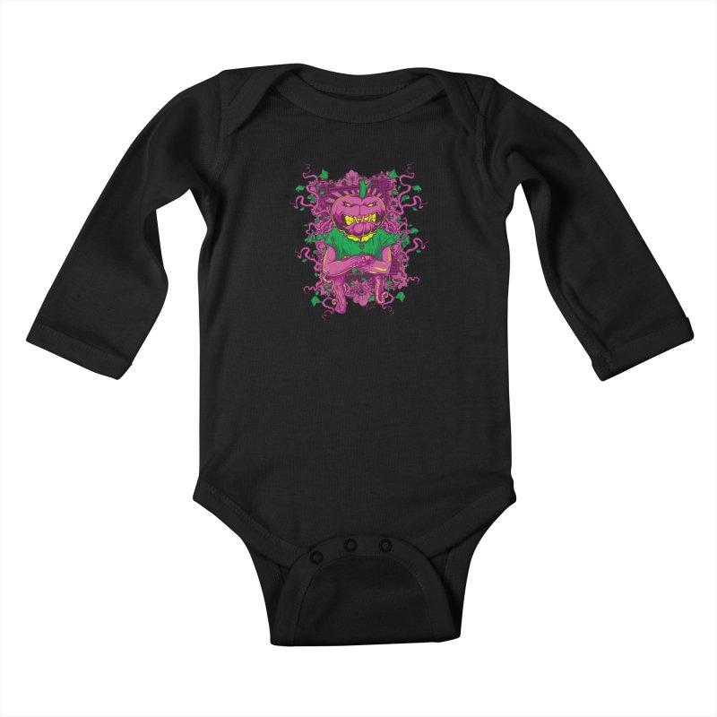 Pumpkin Terror Kids Baby Longsleeve Bodysuit by Wicked Oddities