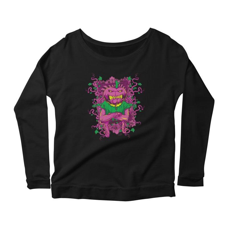 Pumpkin Terror Women's Scoop Neck Longsleeve T-Shirt by Wicked Oddities