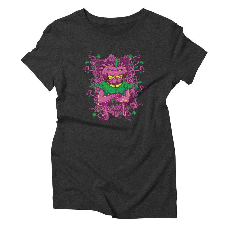 Pumpkin Terror Women's Triblend T-Shirt by Wicked Oddities