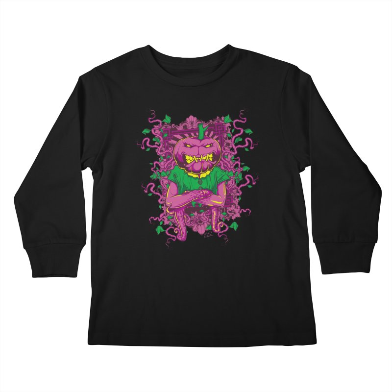 Pumpkin Terror Kids Longsleeve T-Shirt by Wicked Oddities