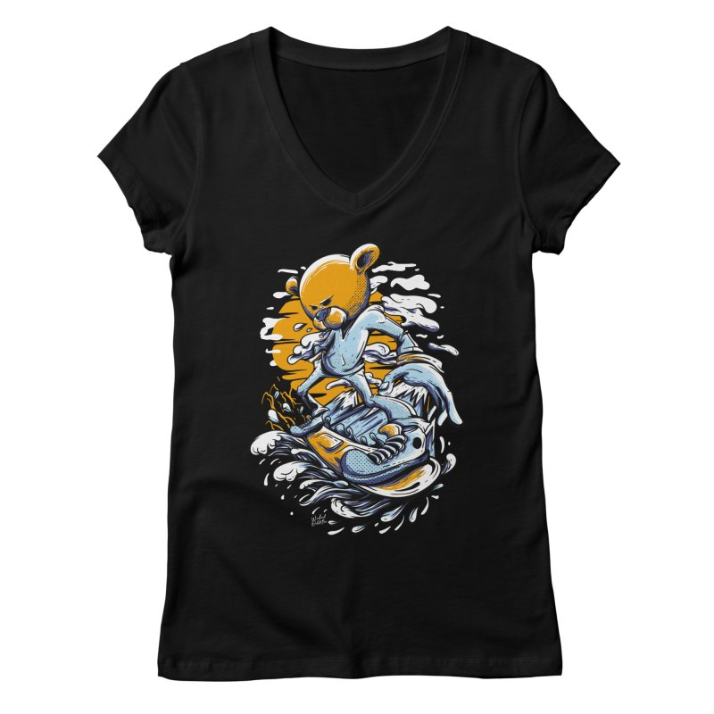 Snow Bear Women's Regular V-Neck by Wicked Oddities