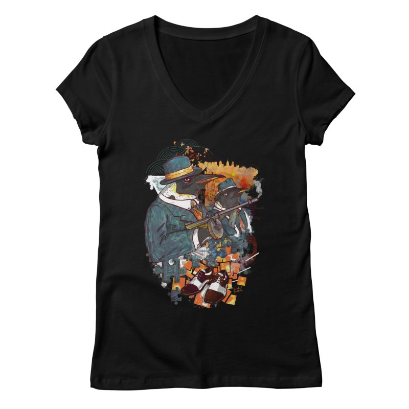Mobsters Women's Regular V-Neck by Wicked Oddities