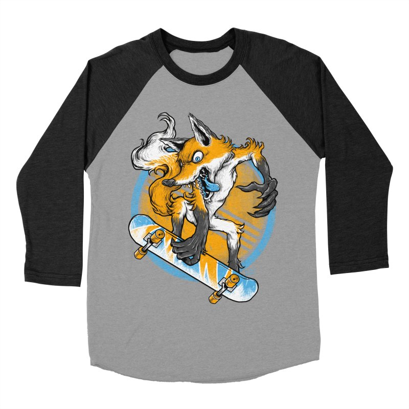 Foxy Skater Men's Baseball Triblend Longsleeve T-Shirt by Wicked Oddities
