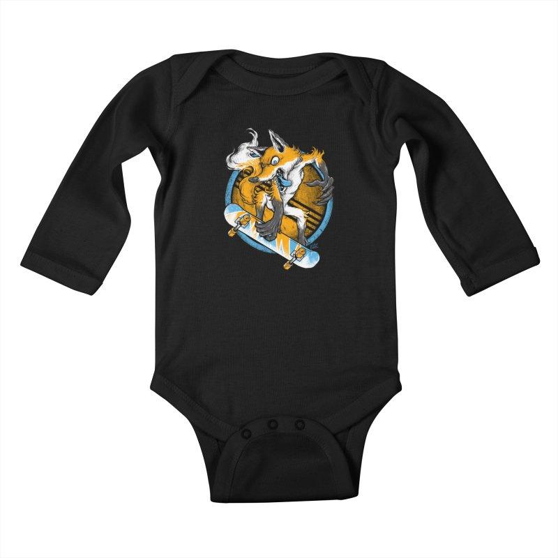 Foxy Skater Kids Baby Longsleeve Bodysuit by Wicked Oddities