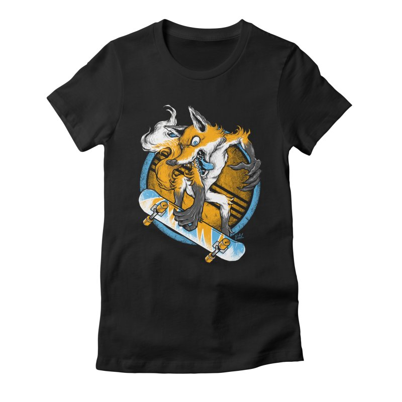 Foxy Skater Women's Fitted T-Shirt by Wicked Oddities