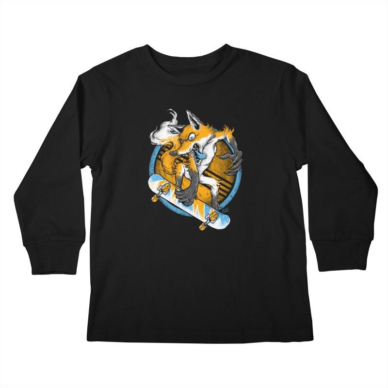 Foxy Skater Kids Longsleeve T-Shirt by Wicked Oddities