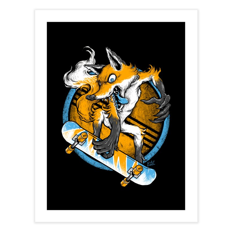 Foxy Skater Home Fine Art Print by Wicked Oddities