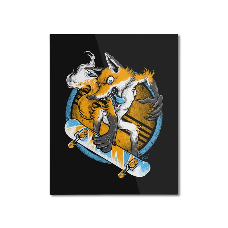 Foxy Skater Home Mounted Aluminum Print by Wicked Oddities