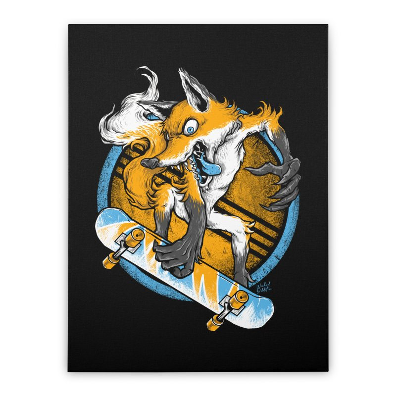 Foxy Skater Home Stretched Canvas by Wicked Oddities