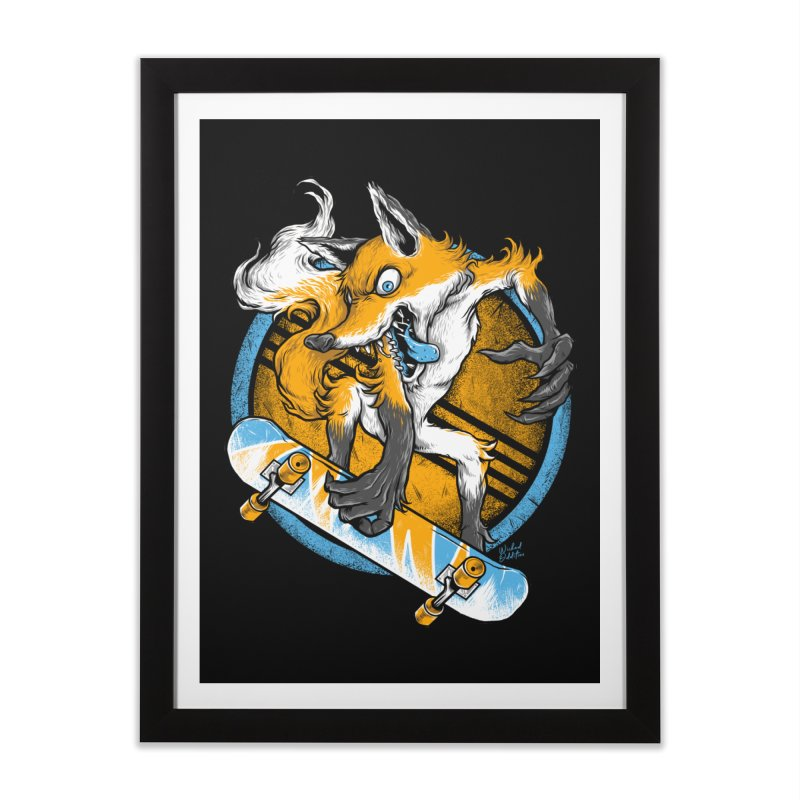 Foxy Skater Home Framed Fine Art Print by Wicked Oddities