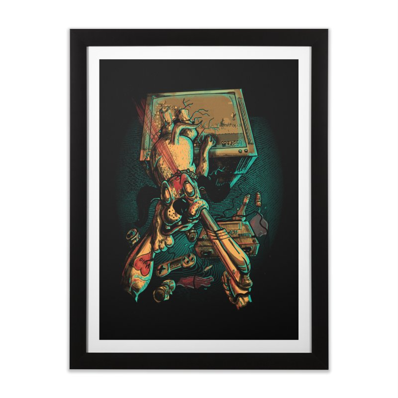 Dog Hunt Home Framed Fine Art Print by Wicked Oddities