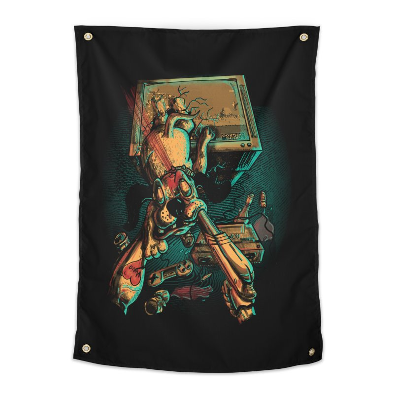 Dog Hunt Home Tapestry by Wicked Oddities