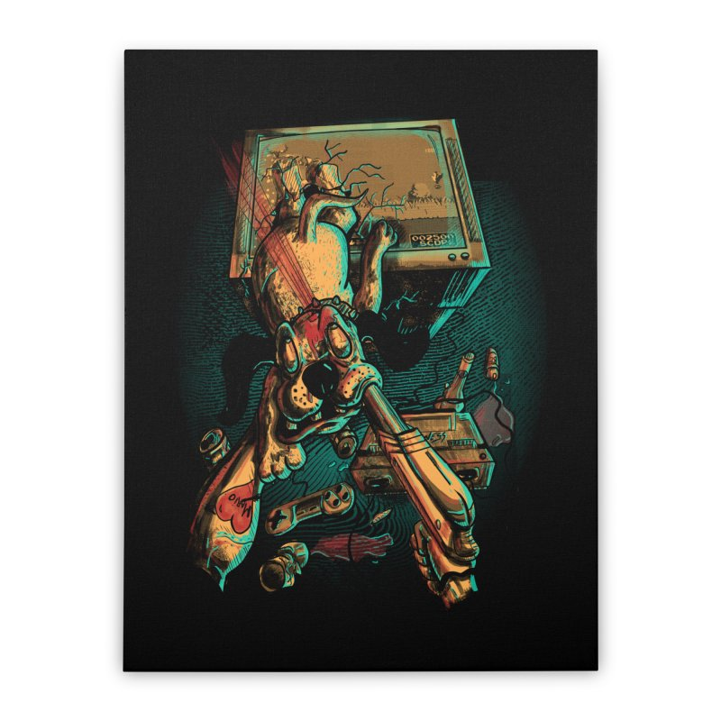Dog Hunt Home Stretched Canvas by Wicked Oddities