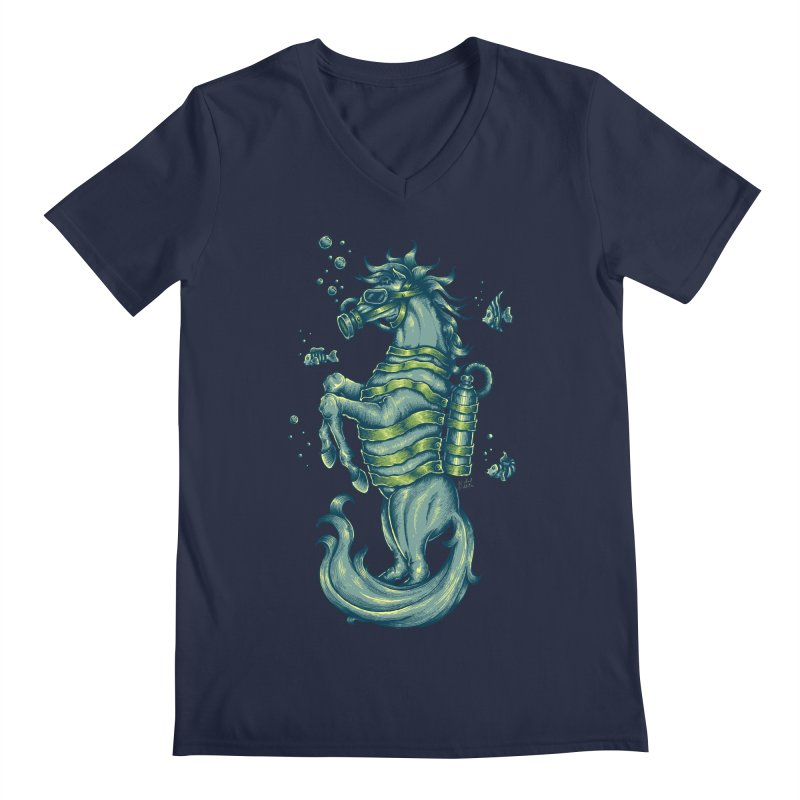 Horse Of The Sea Men's Regular V-Neck by Wicked Oddities