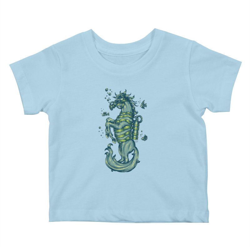 Horse Of The Sea Kids Baby T-Shirt by Wicked Oddities