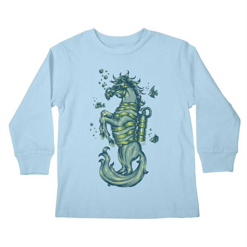 Horse Of The Sea Kids Longsleeve T-Shirt by Wicked Oddities