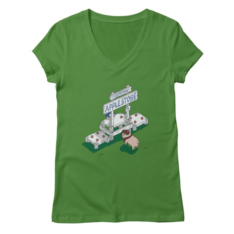 The Original Apple Store Women's V-Neck by wilbury tees