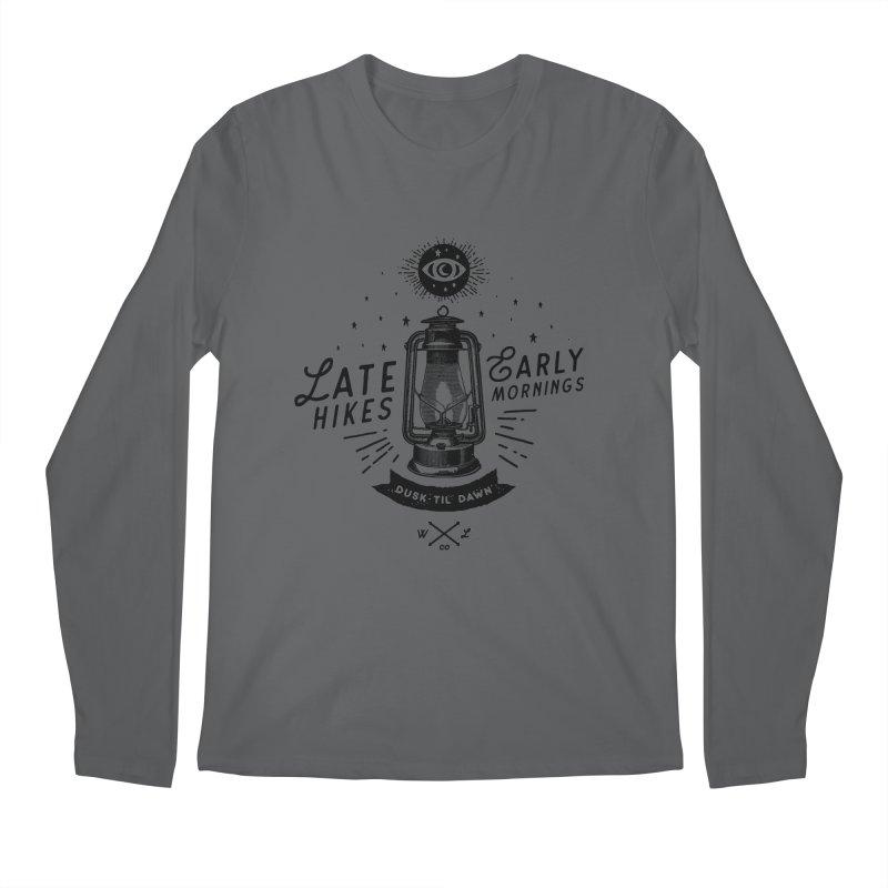 Late Hikes, Early Mornings Men's Longsleeve T-Shirt by wilderlustco's Artist Shop
