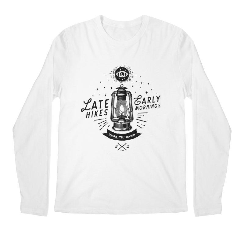 Late Hikes, Early Mornings Men's Regular Longsleeve T-Shirt by wilderlustco's Artist Shop