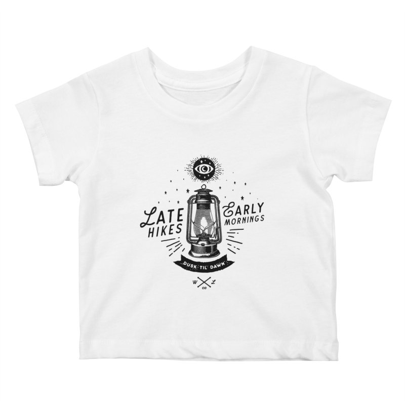 Late Hikes, Early Mornings Kids Baby T-Shirt by wilderlustco's Artist Shop