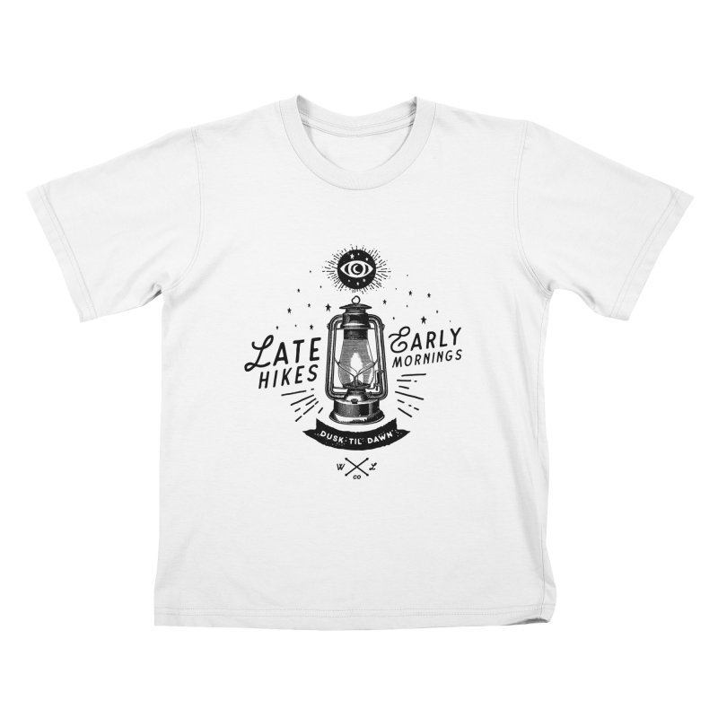 Late Hikes, Early Mornings Kids T-Shirt by wilderlustco's Artist Shop