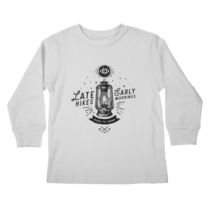 Late Hikes, Early Mornings Kids Longsleeve T-Shirt by wilderlustco's Artist Shop