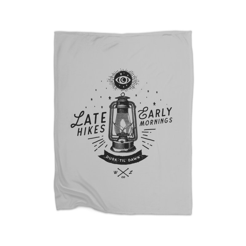 Late Hikes, Early Mornings Home Fleece Blanket Blanket by wilderlustco's Artist Shop