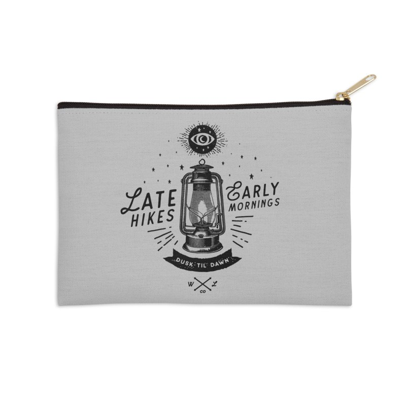 Late Hikes, Early Mornings Accessories Zip Pouch by wilderlustco's Artist Shop